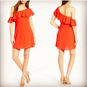 ASTR Off the shoulder ruffle sleeve orange dress